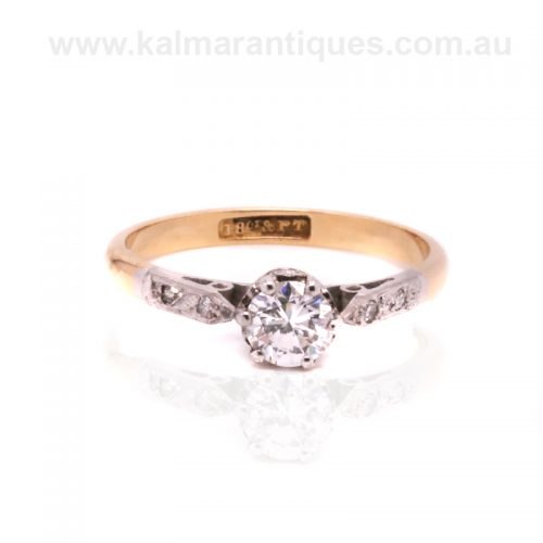 18ct gold and platinum Art Deco diamond engagement ring