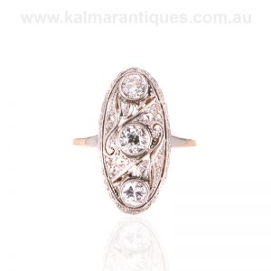 Oval Art Deco diamond ring hand made in gold and platinum