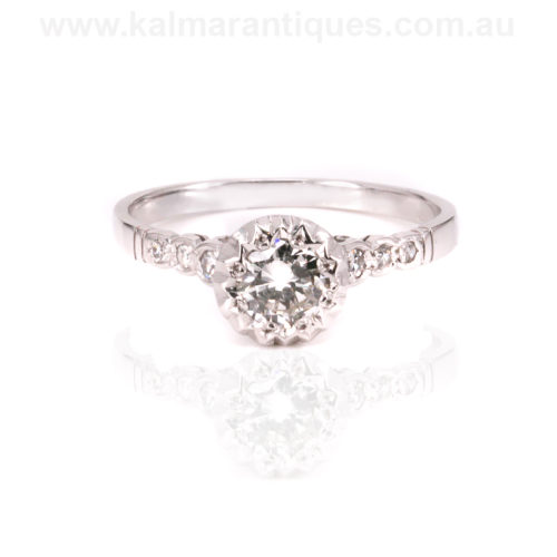 Art Deco 18ct white gold diamond engagement ring
