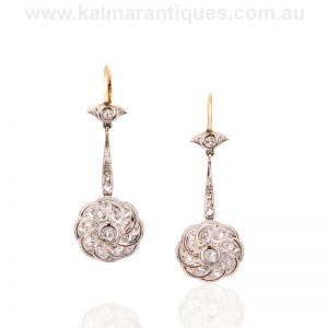 Art Deco gold and platinum diamond drop earrings