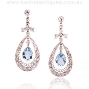 Aquamarine and diamond drop earrings from the Art Deco era