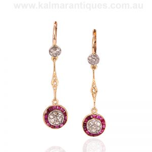Art Deco ruby and diamond drop earrings dating from the 1920's