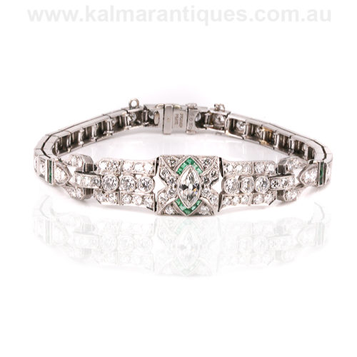 Art Deco emerald and diamond bracelet