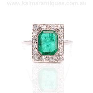 Art Deco emerald and diamond ring Sydney