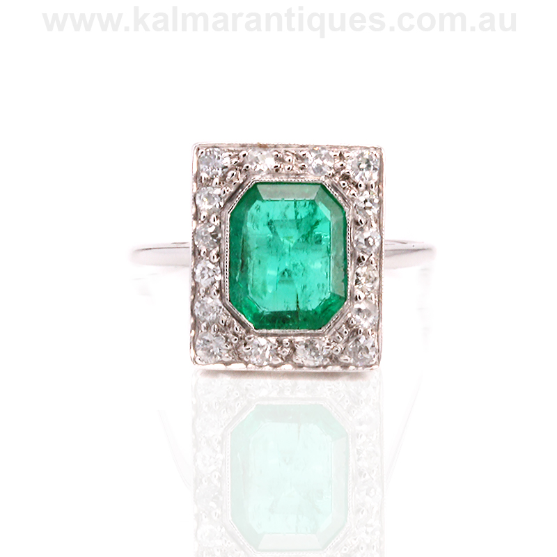 Art Deco Emerald And Diamond Ring From The 1920 S