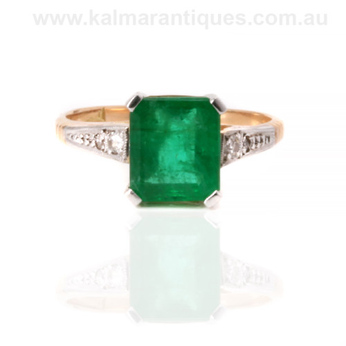 Art Deco emerald and diamond ring Sydney