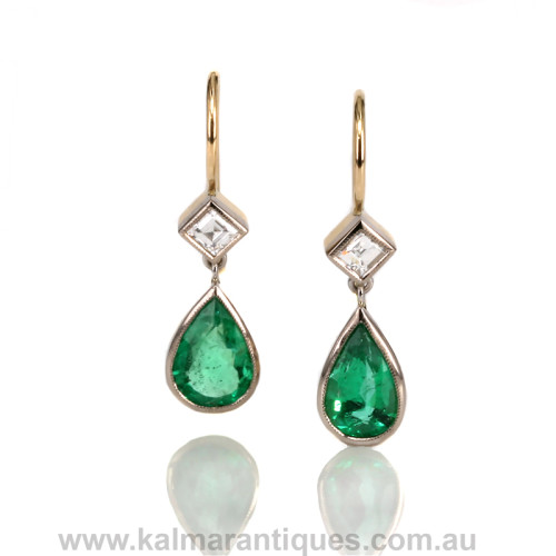 18ct Colombian emerald and diamond earrings