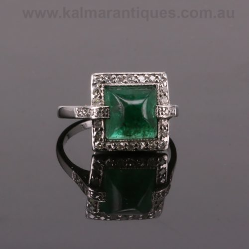 Art Deco sugar loaf cut emerald and diamond ring from the 1930's