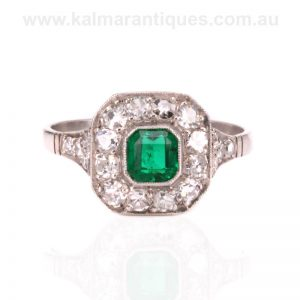 Art Deco emerald and diamond handmade in platinum in the 1920's