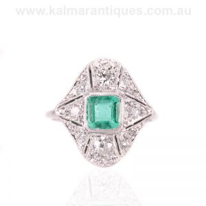 Emerald and diamond ring hand made in the Art Deco period of the 1920's