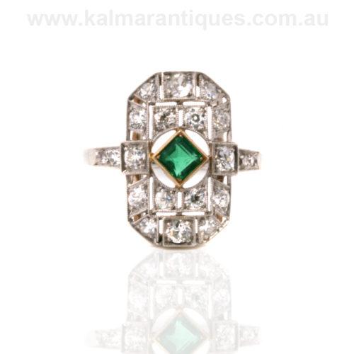 1920's Art Deco emerald and diamond ring