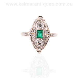 Art Deco emerald and diamond engagement ring Sydney