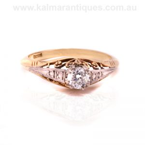 Hand made 1920's era Art Deco diamond engagement ring