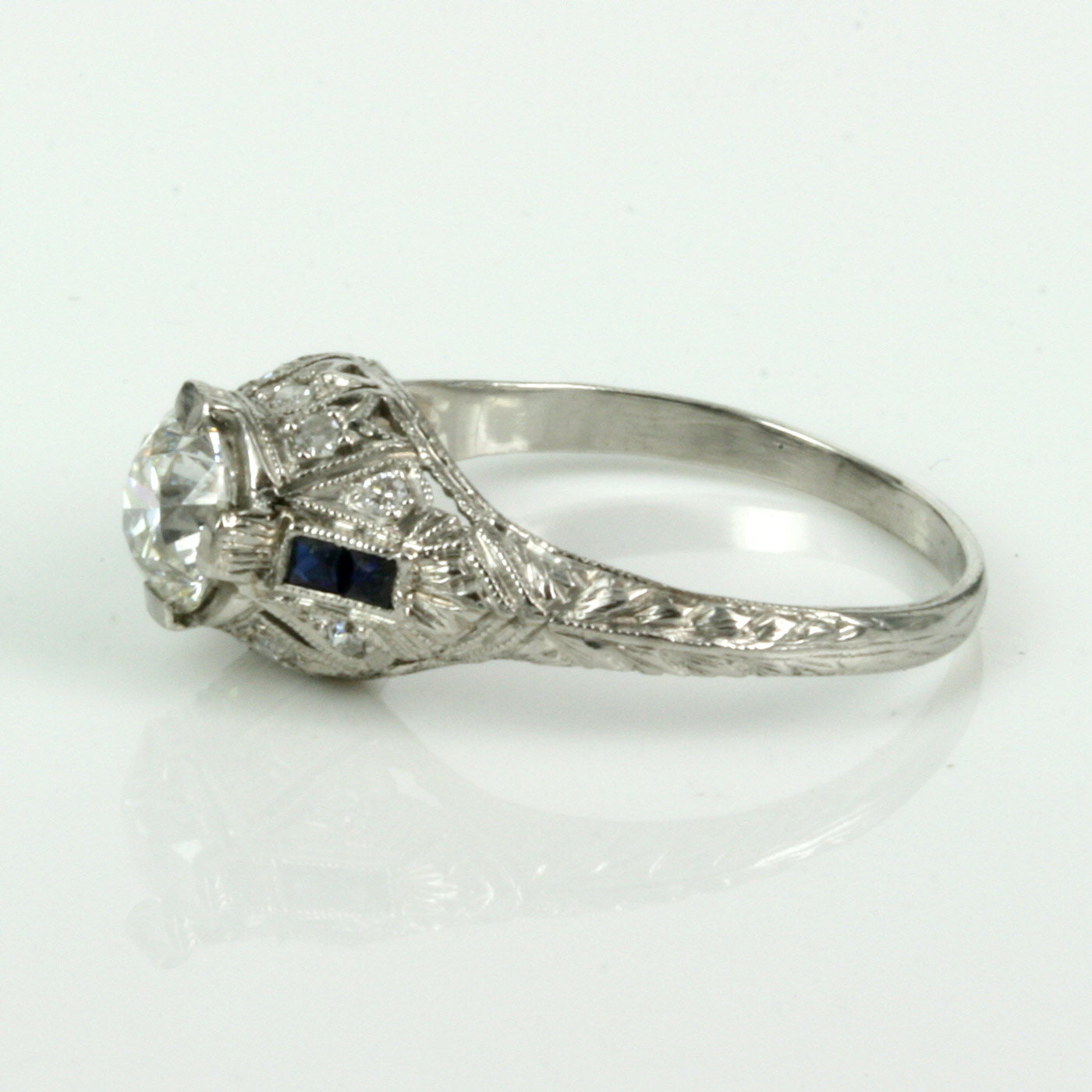 buy deco engagement ring with side sapphires sold rings sydney kalmarantiques