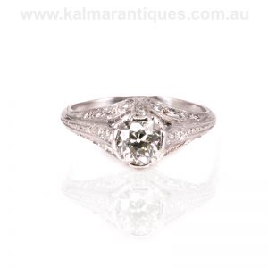 Platinum Art Deco diamond engagement ring from the 1920's