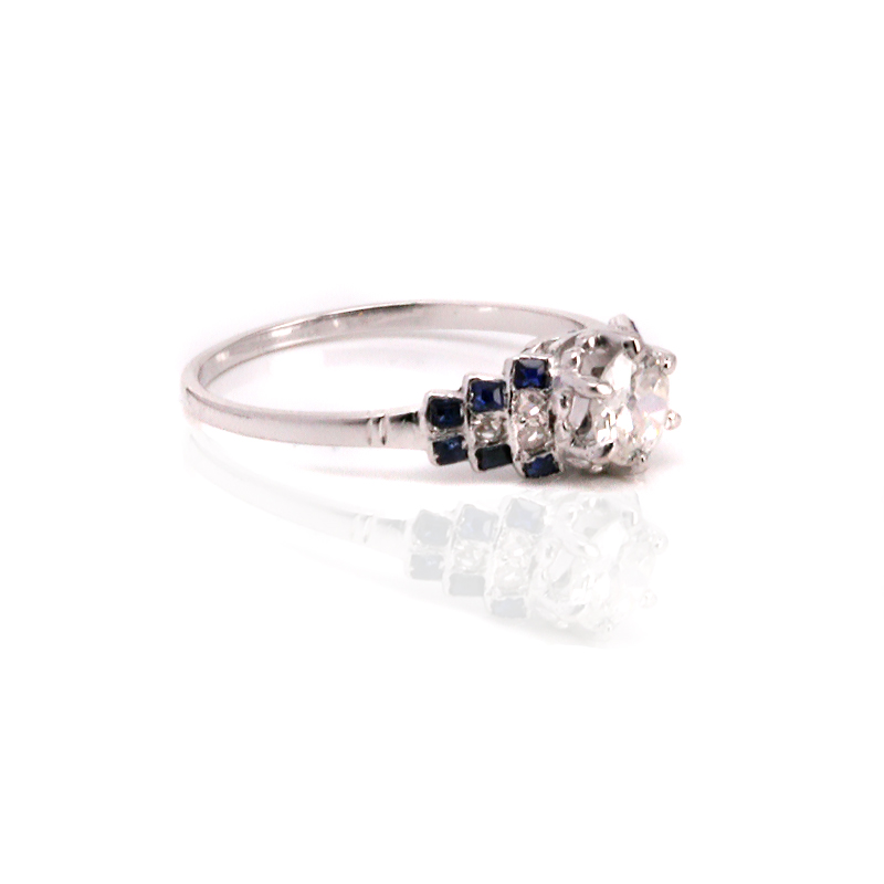 art deco sapphire and diamond engagement ring from the 1920s