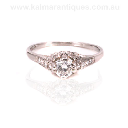 Hand made platinum Art Deco diamond engagement ring
