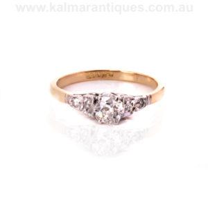 Art Deco engagement ring set with a mine cut diamond
