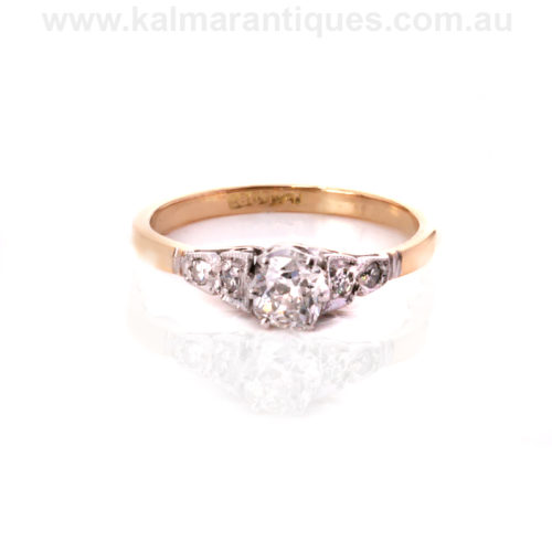 Art Deco engagement ring set with a mine cut diamond