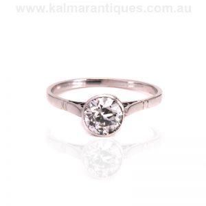 Art Deco platinum bezel set diamond engagement ring