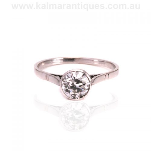 Art Deco platinum bezel set diamond engagement ring