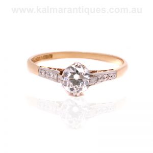 Elegant 18ct gold and platinum Art Deco diamond engagement ring