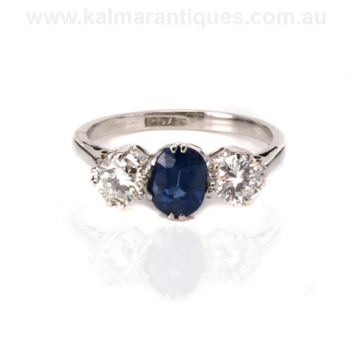 Art Deco sapphire and diamond engagement ring