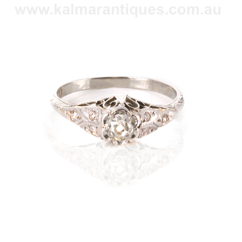18ct white gold deco engagement ring
