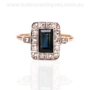 Art Deco sapphire and diamond engagement ring from the 1920's