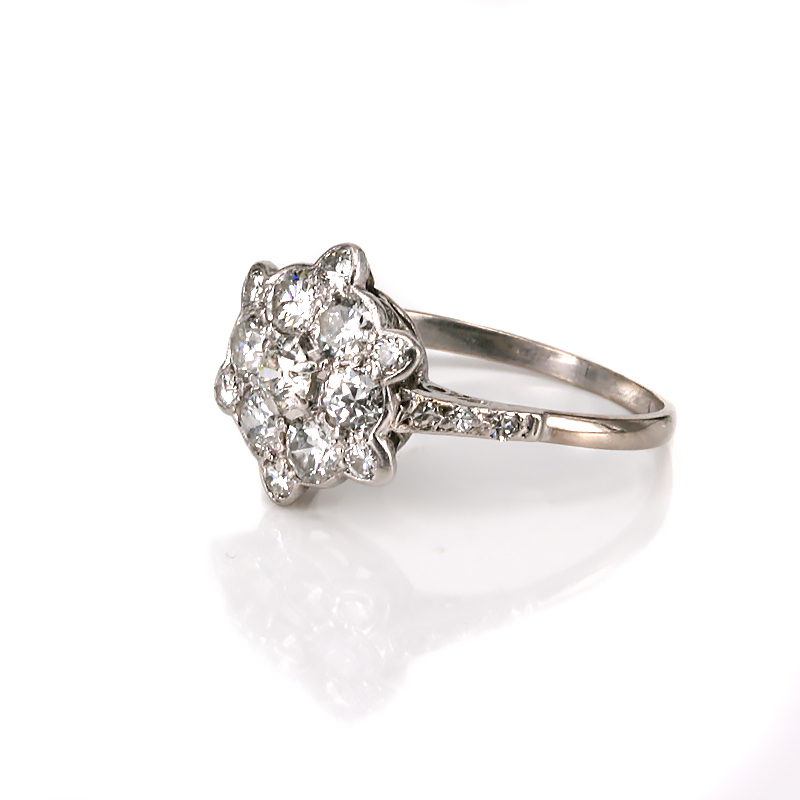 deco cluster engagement ring