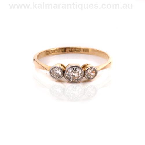 18ct gold and platinum Art Deco diamond engagement ring Sydney