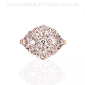 Art Deco diamond ring hand made in 18ct gold and platinum