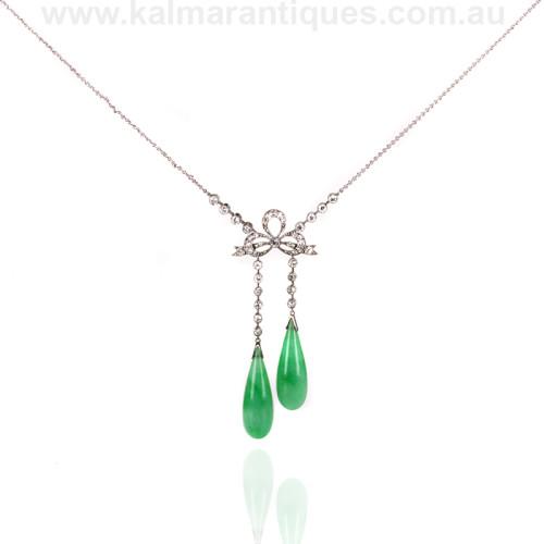 Art Deco jade and diamond negligee pendant in platinum
