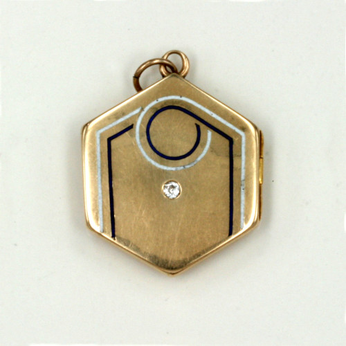 Art Deco enamelled & diamond locket.