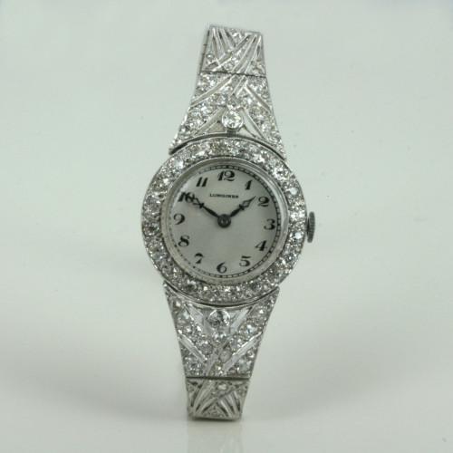 Art Deco diamond Longines watch.