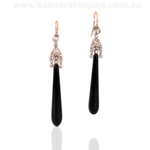 Art Deco onyx and diamond drop earrings