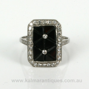 Fancy onyx and diamond Art Deco ring