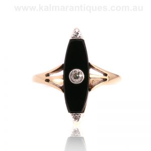 1920's Art Deco era onyx and diamond ring