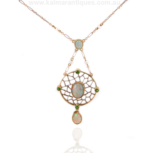 Art Deco opal and garnet necklace