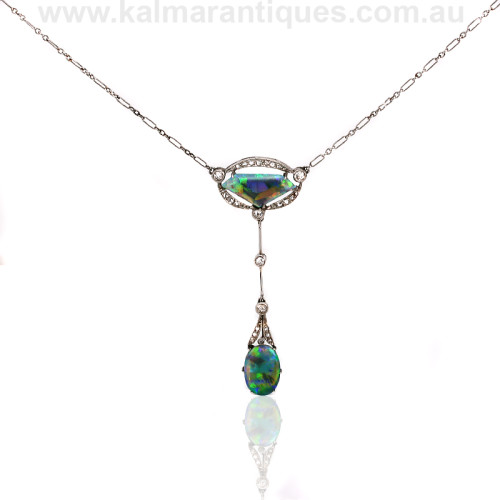 Platinum Art Deco opal and diamond pendant