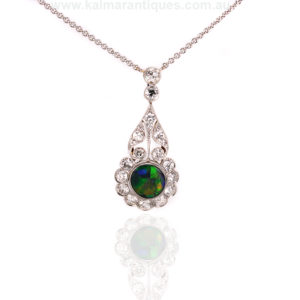 Art Deco opal and diamond pendant