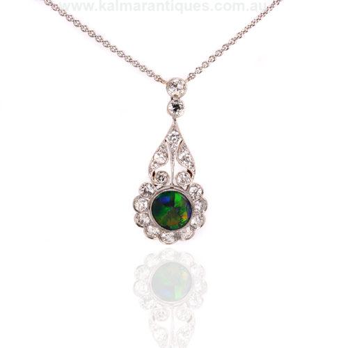 Art Deco opal and diamond pendant