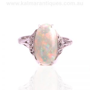 Art Deco opal and diamond ring from the 1920's