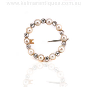 Art Deco diamond and pearl brooch