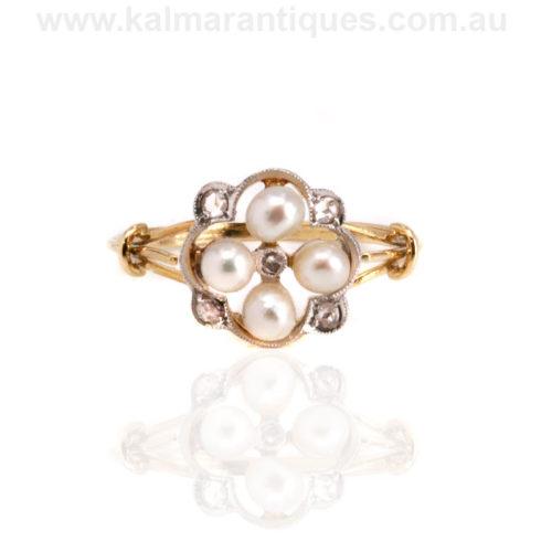 Art Deco pearl and diamond ring