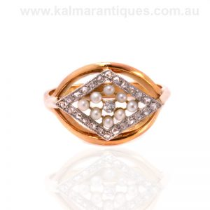 Art Deco pearl and diamond lozenge shaped ring