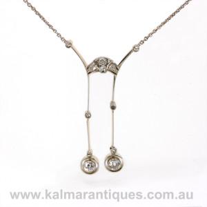Egyptian revival Art Deco diamond negligee pendant