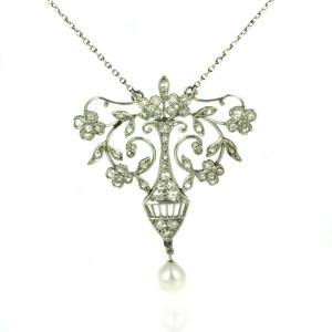 Art Deco diamond pendant by Elkington and Co