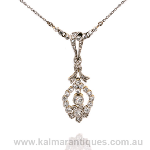 Art Deco platinum and gold diamond pendant