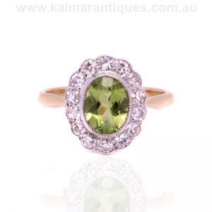 Art Deco peridot and diamond cluster ring from the 1930's